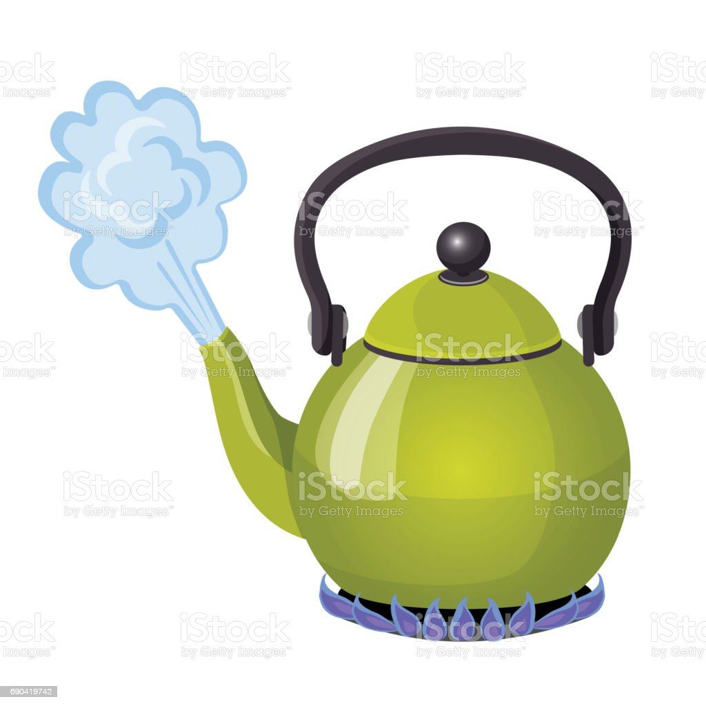 Boiling water in aluminium kettle on gas flame realistic vector illustration vector art illustration