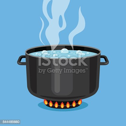 istock Boiling water in pan. Cooking pot on stove. Vector illustration 544485660