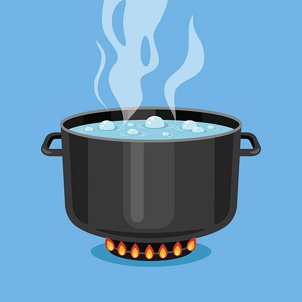 stockillustraties, clipart, cartoons en iconen met boiling water in pan. cooking pot on stove. vector illustration - gestoomd