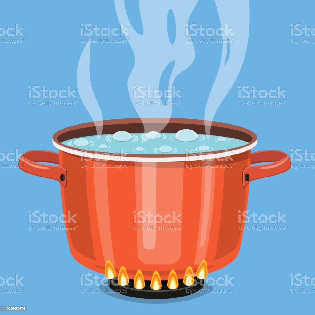 Boiling water in pan. royalty-free boiling water in pan stock vector art & more images of black color