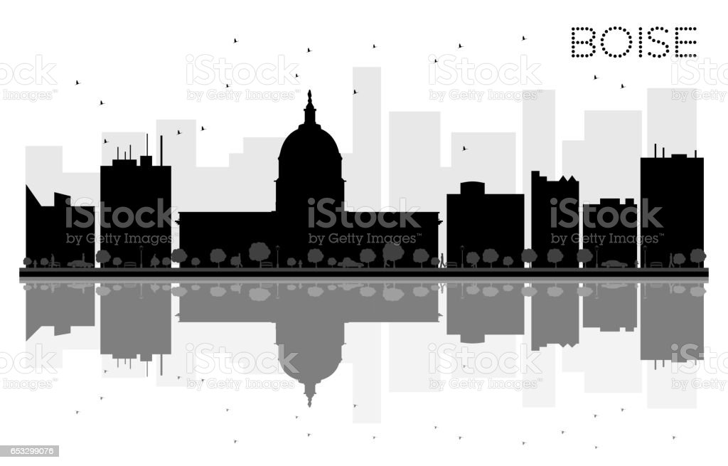 Boise City skyline black and white silhouette with reflections. vector art illustration