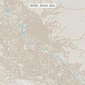 Vector Illustration of a City Street Map of Boise, Idaho, USA. Scale 1:60,000. All source data is in the public domain. U.S. Geological Survey, US Topo Used Layers: USGS The National Map: National Hydrography Dataset (NHD) USGS The National Map: National Transportation Dataset (NTD)