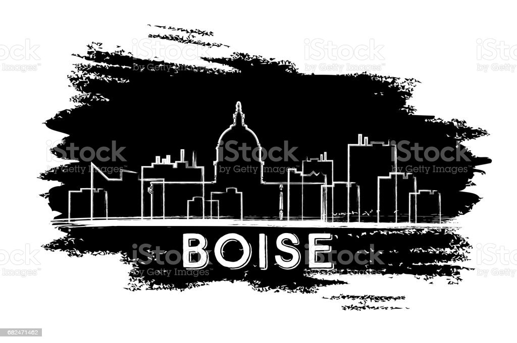 Boise Skyline Silhouette. Hand Drawn Sketch. royalty-free boise skyline silhouette hand drawn sketch stock vector art & more images of architecture