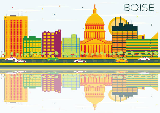 Boise Skyline with Color Buildings, Blue Sky and Reflections. vector art illustration
