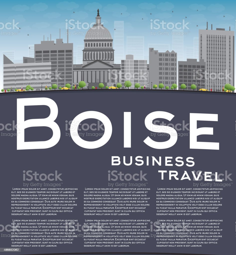 Boise Skyline with Grey Building, Blue Sky and copy space vector art illustration