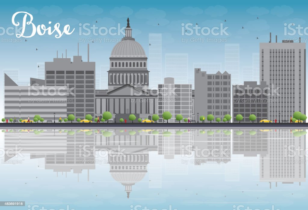 Boise Skyline with Grey Building, Blue Sky and reflections vector art illustration
