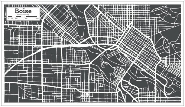 Boise USA City Map in Retro Style. Outline Map. vector art illustration