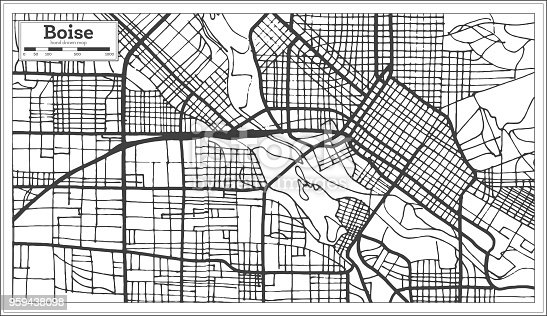 Boise USA City Map in Retro Style. Outline Map. Vector Illustration.