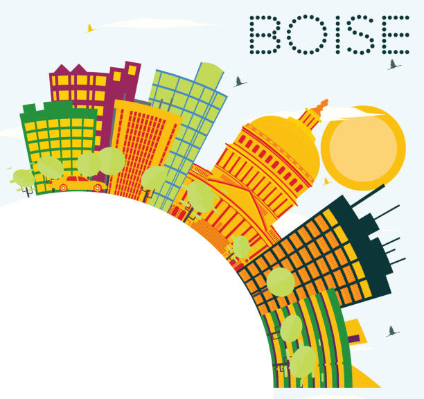Boise USA Skyline with Color Buildings, Blue Sky and Copy Space. vector art illustration