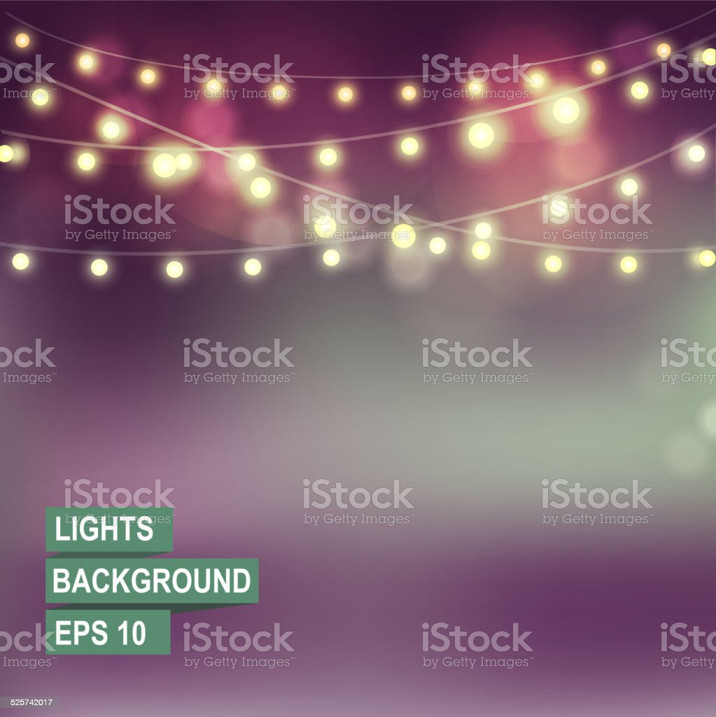 Bokeh garland lights. vector art illustration