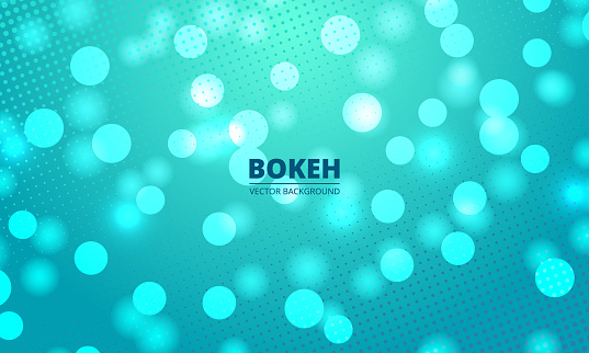 Bokeh lights on a green and blue halftone background. Holiday glowing lights with sparkles.