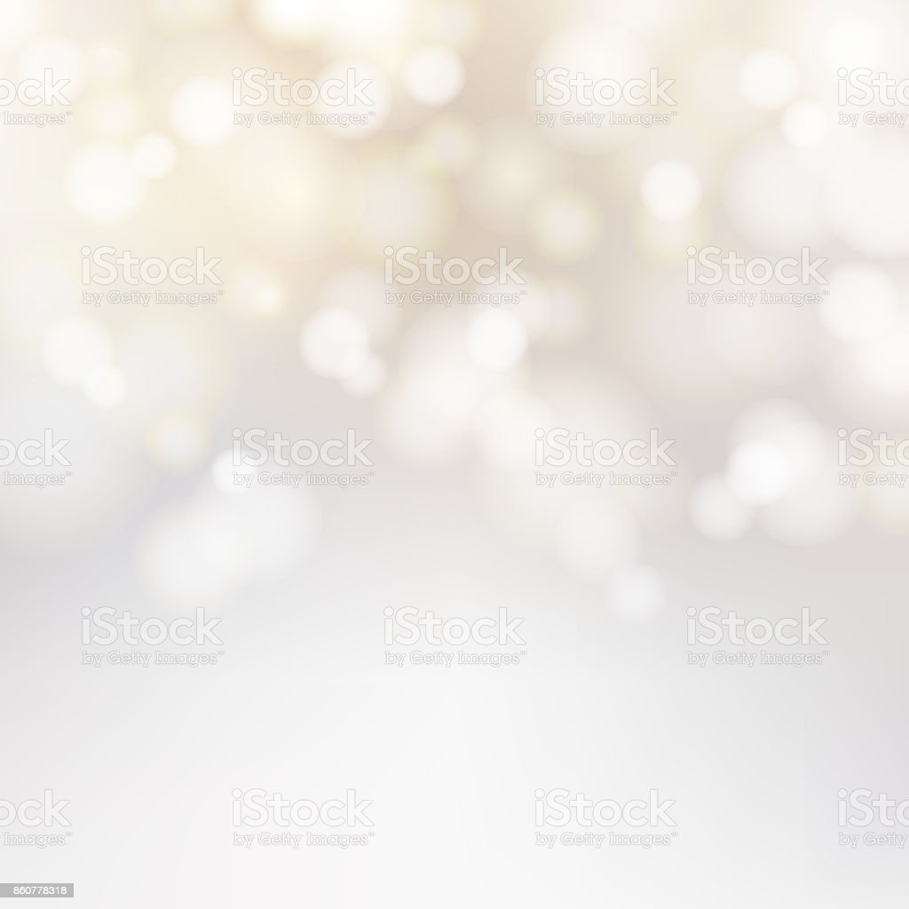 Bokeh silver and white Sparkling Lights Festive background with texture. Abstract Christmas twinkled bright defocused. Winter Card or invitation. Vector