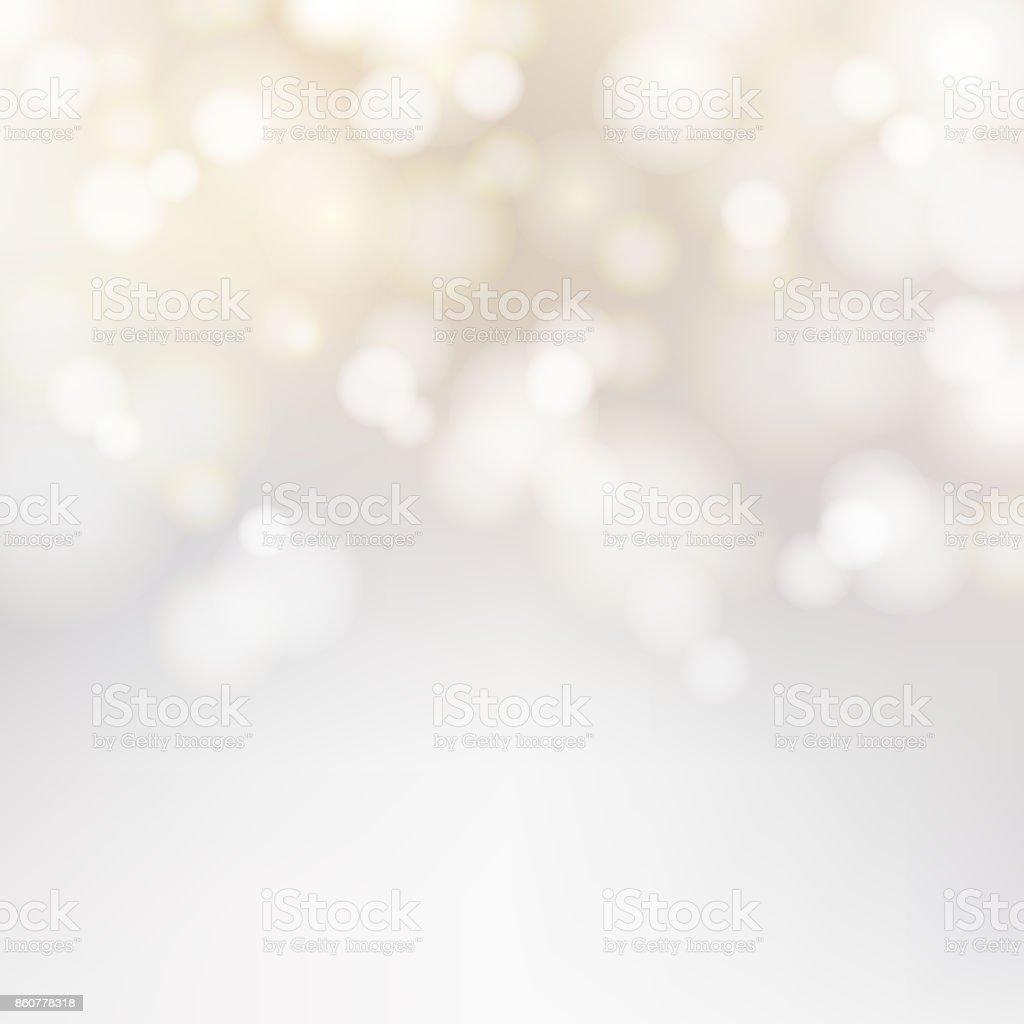 Bokeh silver och vit gnistrande ljus festliga bakgrund med textur. Abstrakta jul tindrade ljusa oskärpa. Vinter kort eller inbjudan. Vektor vektorkonstillustration