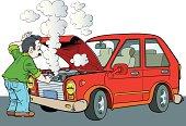 Illustration of broken car.