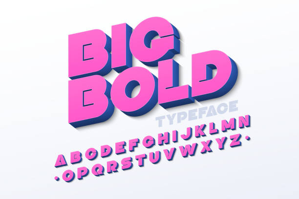 bold 3d font - vibrant color stock illustrations