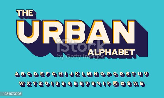 Retro 3D bold display alphabet design