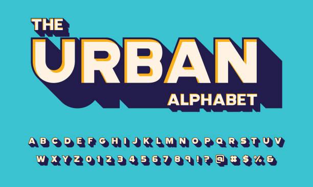 bold alphabet Retro 3D bold display alphabet design three dimensional stock illustrations