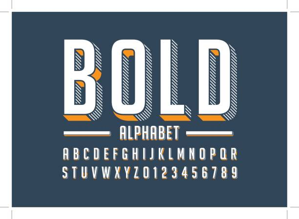 bold alphabet - fonts and typography stock illustrations, clip art, cartoons, & icons