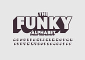 Vector of retro bold font and alphabet