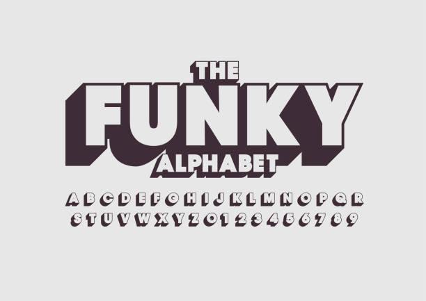 Bold alphabet Vector of retro bold font and alphabet cool attitude stock illustrations
