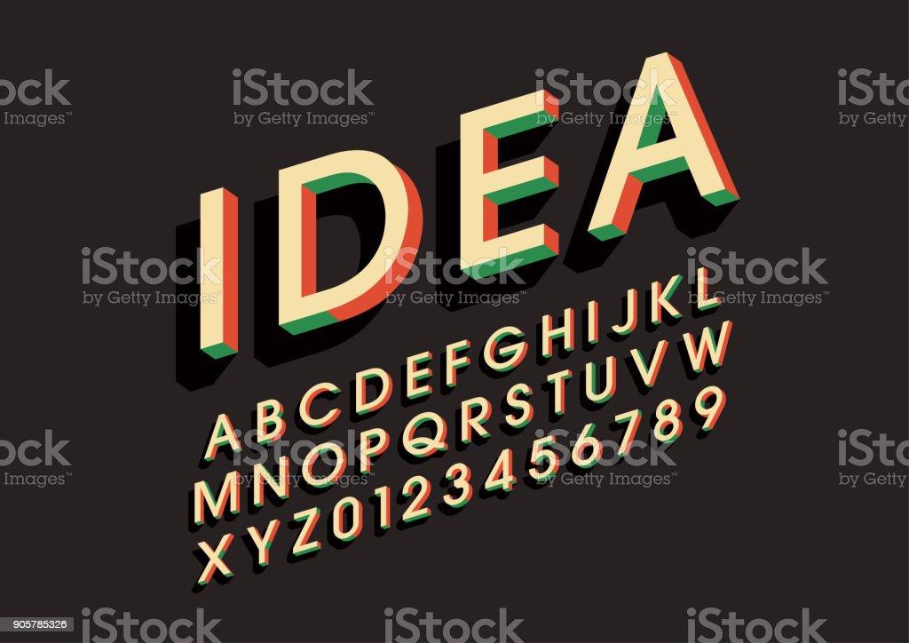 Bold alphabet vector art illustration