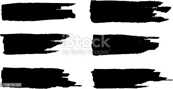 set of thick brush strokes