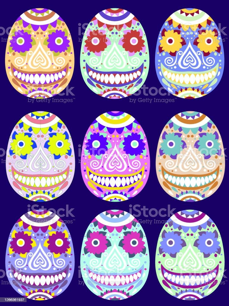 Bold Colors Set Of Sugar Skull Stock Vector Illustration Stock Illustration Download Image Now Istock