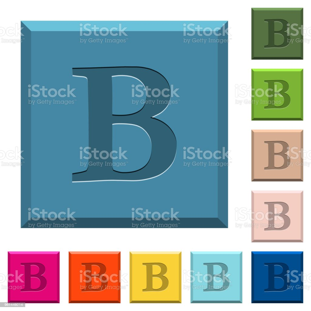 Bold Font Type Engraved Icons On Edged Square Buttons Stock Vector
