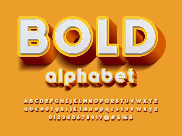 3D bold font Vector of stylized modern bold alphabet design three dimensional stock illustrations