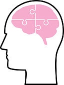 Vector illustration of a outline male head profile with a pink brain made of puzzle pieces.