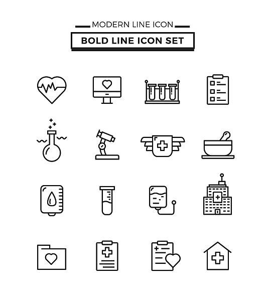 illustrazioni stock, clip art, cartoni animati e icone di tendenza di audaci linee set di icone mediche - scheda clinica