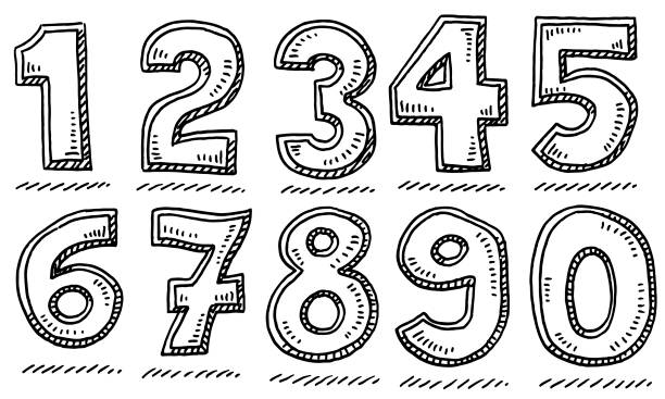 Bold Numbers Set Drawing vector art illustration