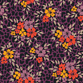 Bold graphic large scale floral and animal skin vector seamless pattern. Simplistic oversize hand drawn flowers on abstract purple textured background. Stylized blooms and foliage on animal skin.