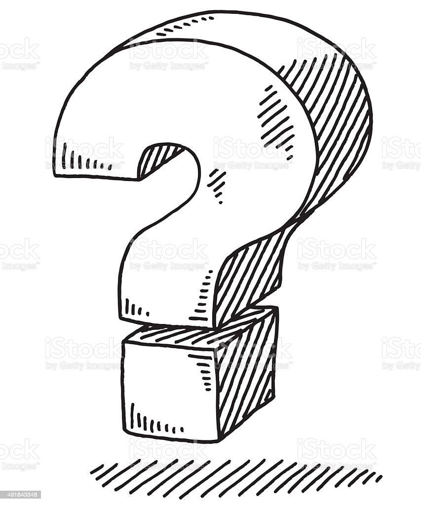 Bold Question Mark Sign Drawing vector art illustration