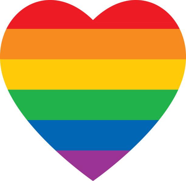 Bold Rainbow Heart Icon vector art illustration