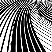 Curved Striped Halftone Pattern That Suggests the Information Highway and streaming through cyberspace.