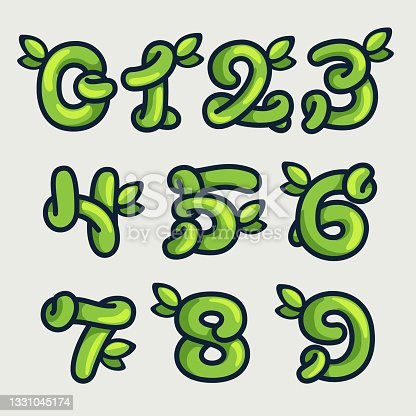 istock Bold twisted eco-friendly numbers set, hand-drawn by a marker. 1331045174
