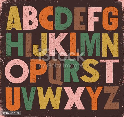 Vector distressed sans serif vintage alphabet.