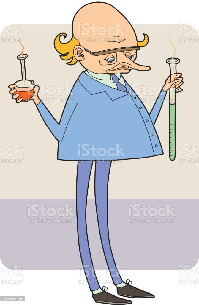 Bold-headed laboratory assistant vector art illustration