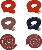 Set of simple icons with various sausages rolled into a ring