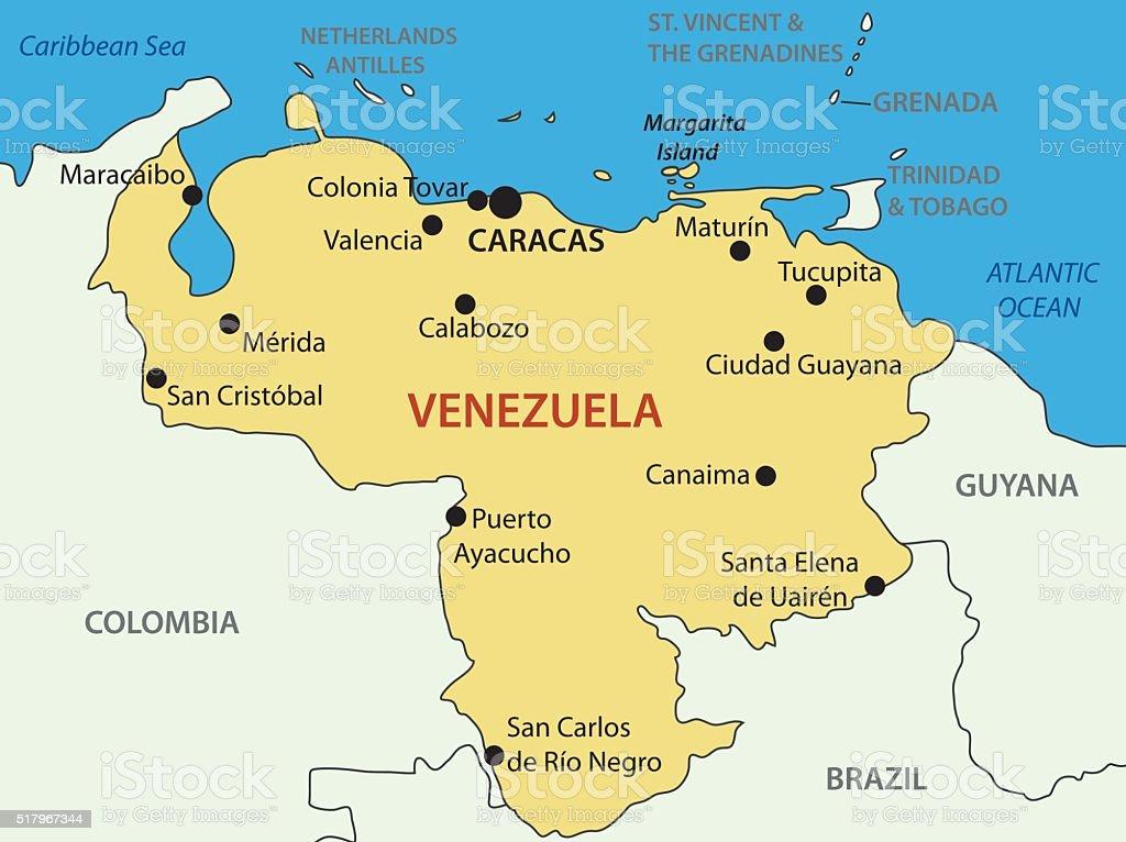 Bolivarian Republic Of Venezuela Vector Map Stock Vector Art More