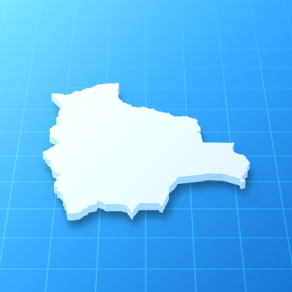 Bolivia 3D Map on blue background