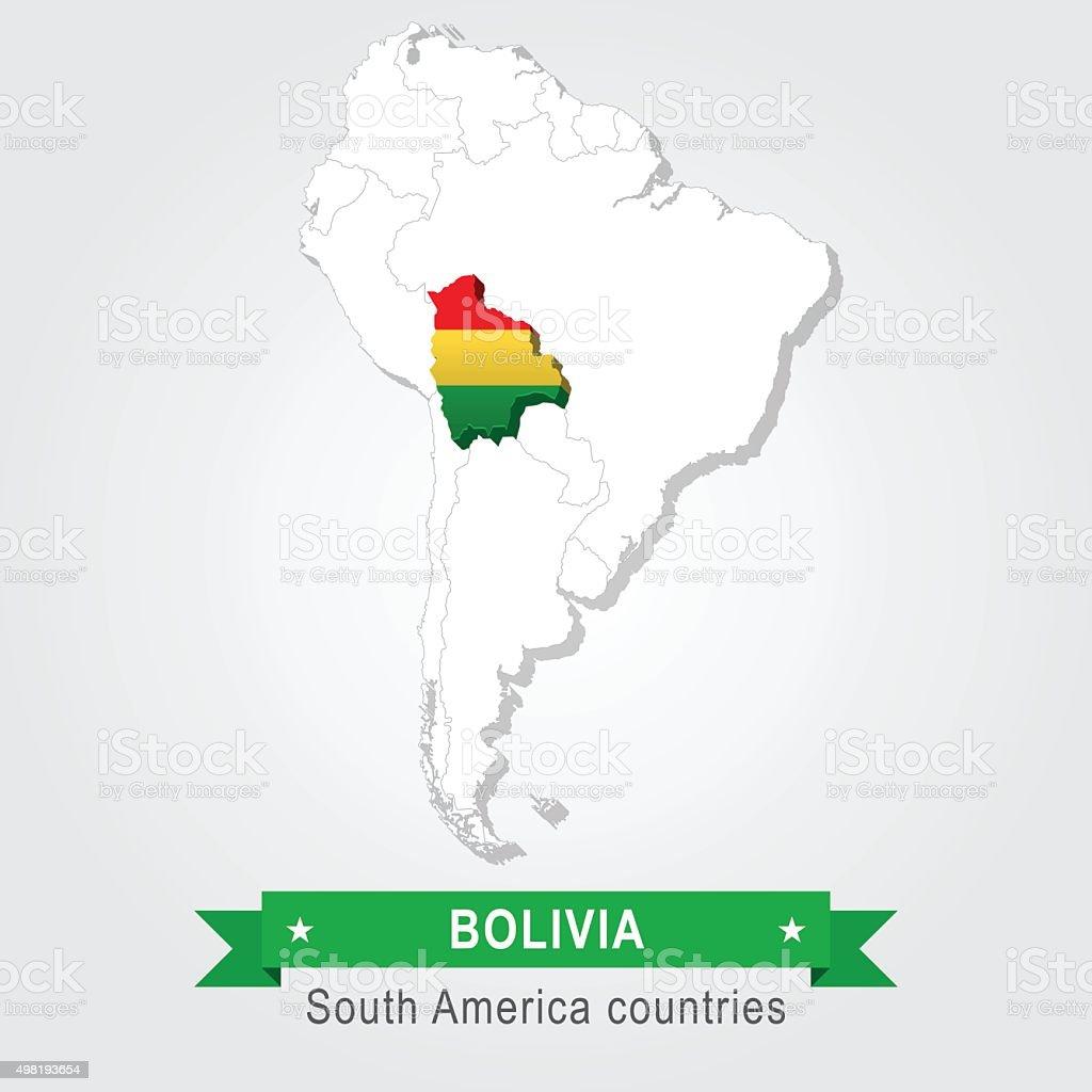 Bolivia. Todos los países de América del Sur. Bandera versión. - ilustración de arte vectorial