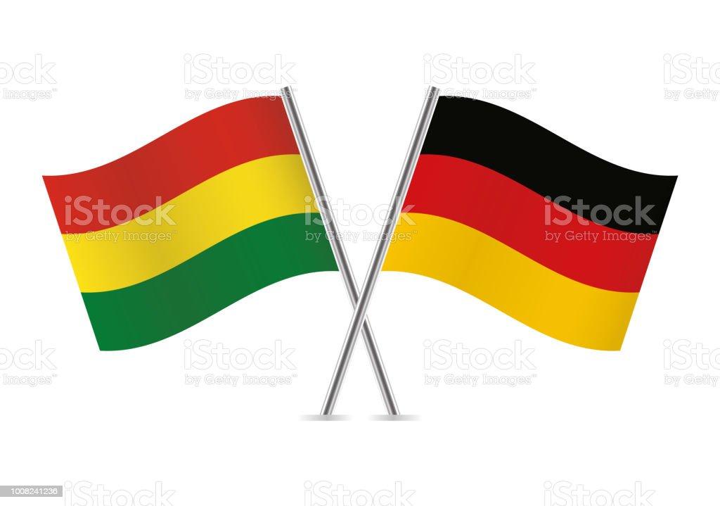 Banderas de Bolivia y Alemania. Ilustración de vector. - ilustración de arte vectorial