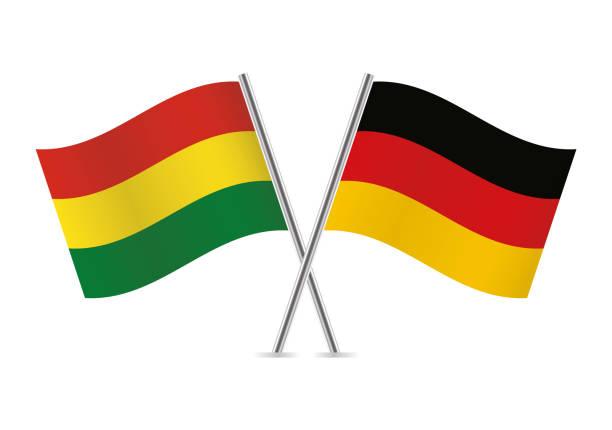 ilustraciones, imágenes clip art, dibujos animados e iconos de stock de banderas de bolivia y alemania. ilustración de vector. - bandera alemana