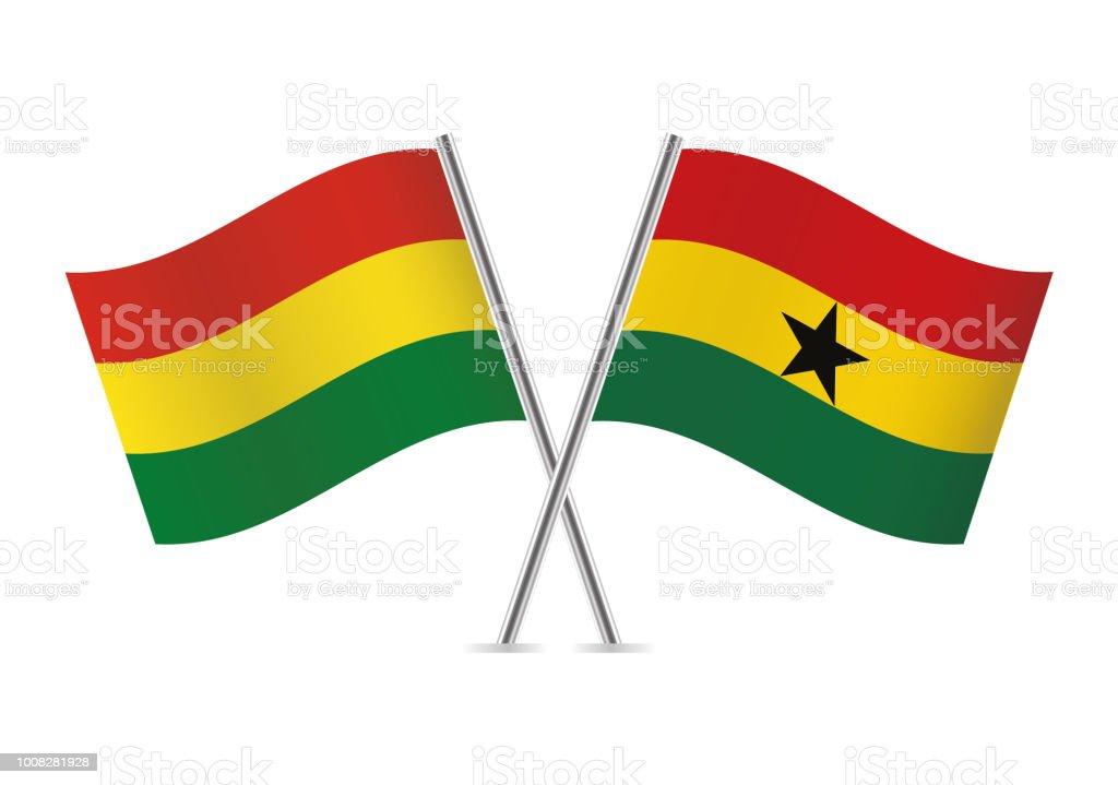 Banderas de Bolivia y Ghana. Ilustración de vector. - ilustración de arte vectorial