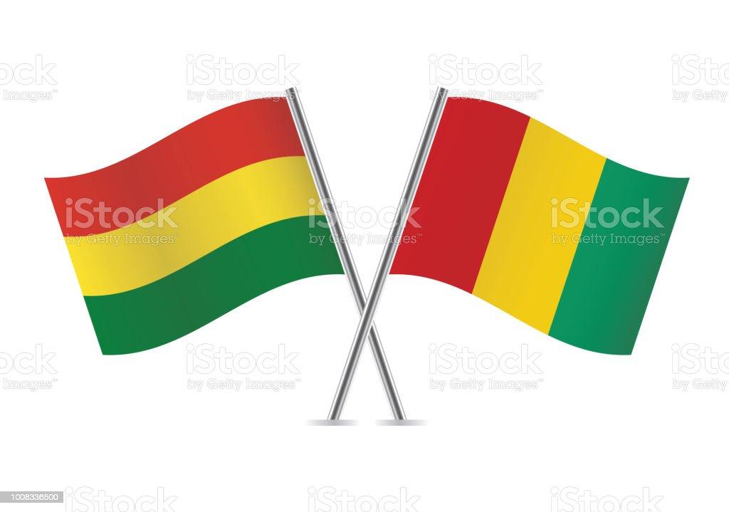 Banderas de Bolivia y Guinea. Ilustración de vector. - ilustración de arte vectorial