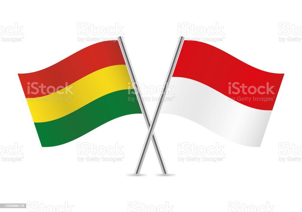 Banderas de Bolivia e Indonesia. Ilustración de vector. - ilustración de arte vectorial