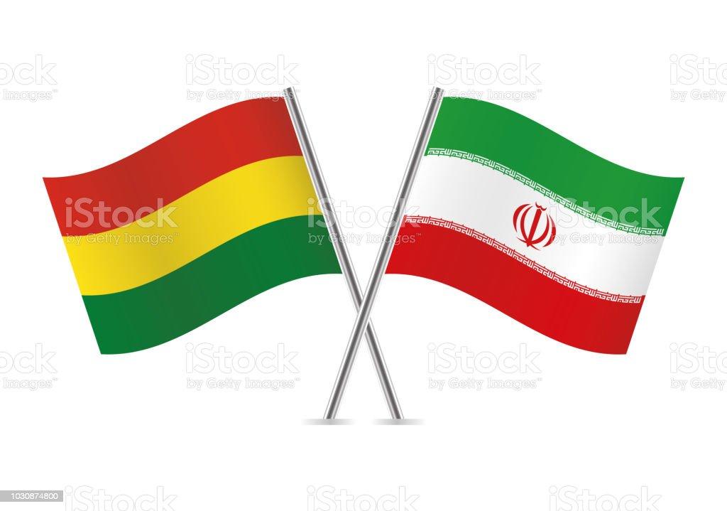 Banderas de Bolivia y de Irán. Ilustración de vector. - ilustración de arte vectorial