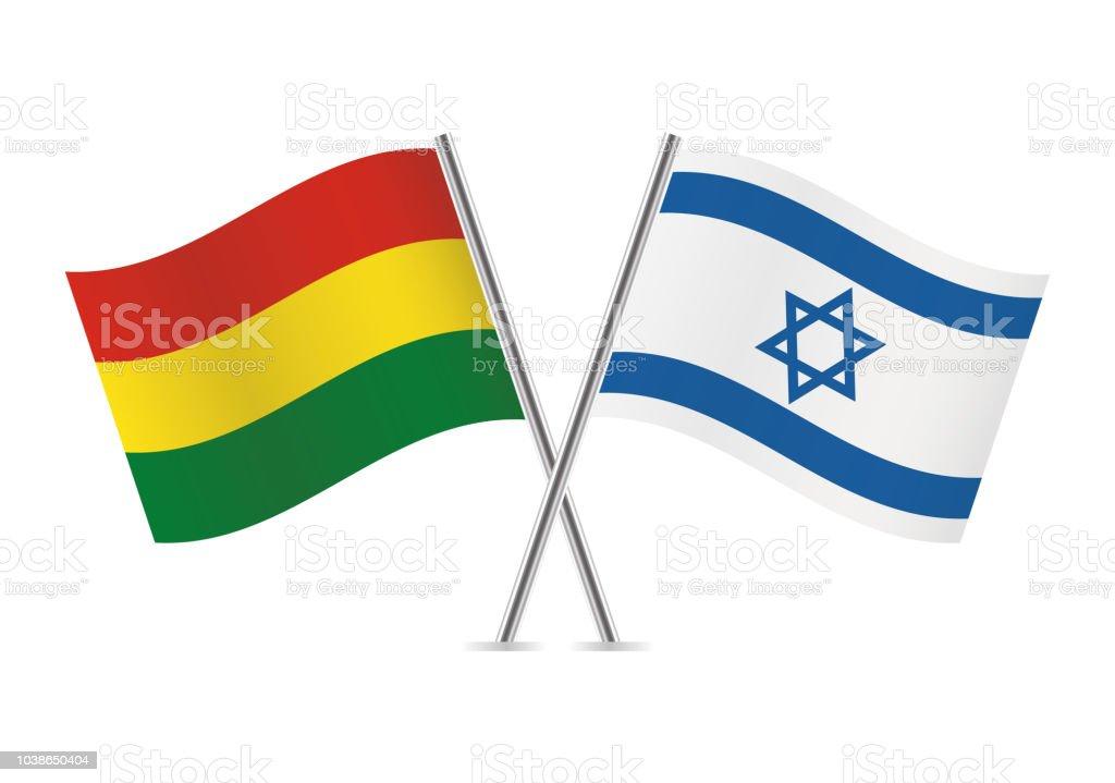 Banderas de Bolivia e Israel. Ilustración de vector. - ilustración de arte vectorial